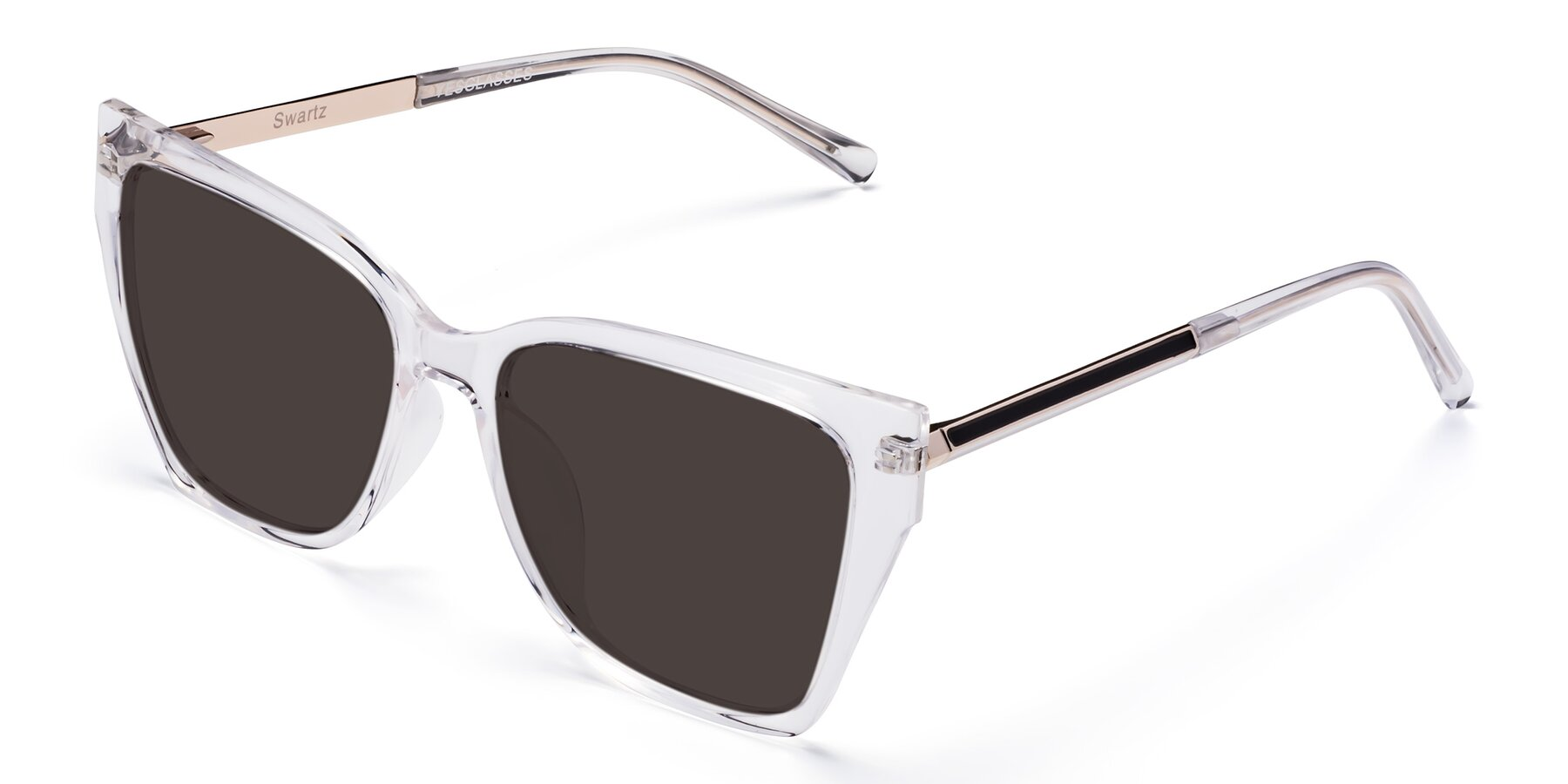 Angle of Swartz in Clear with Gray Tinted Lenses