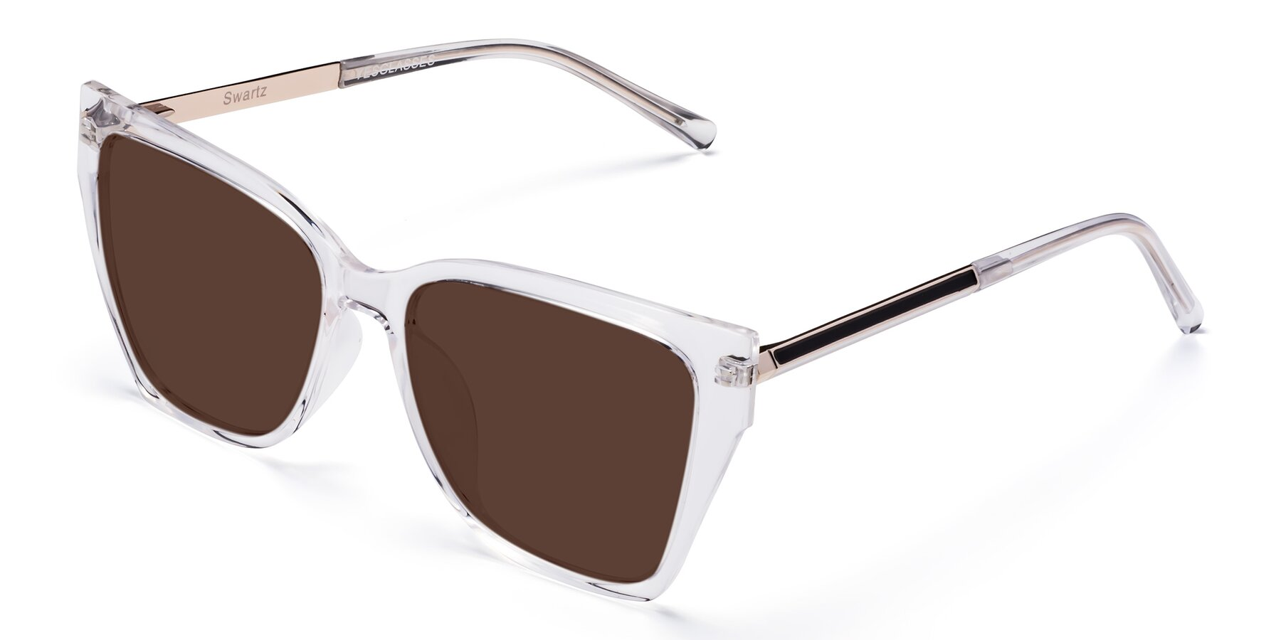 Angle of Swartz in Clear with Brown Tinted Lenses