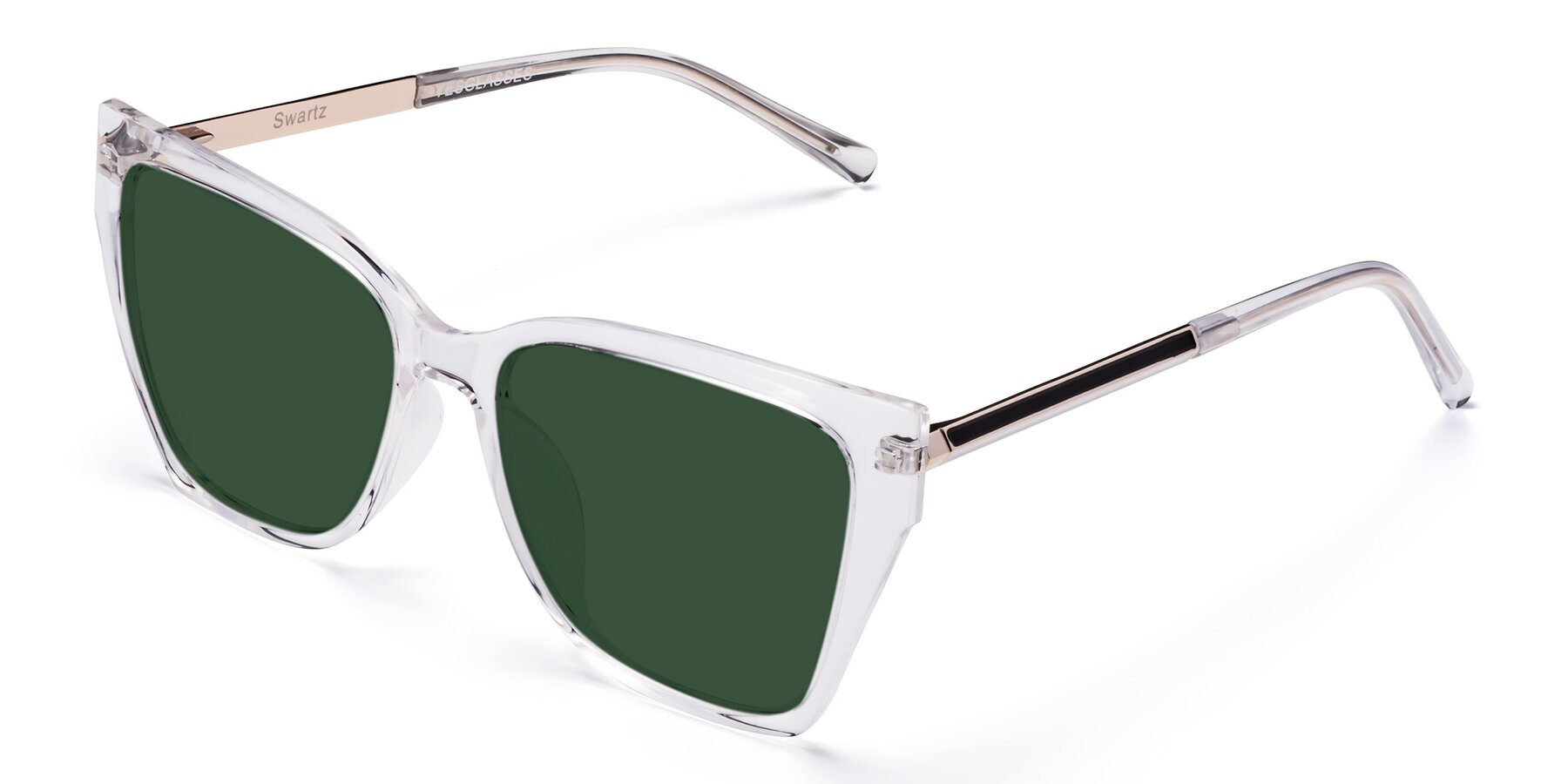 Angle of Swartz in Clear with Green Tinted Lenses