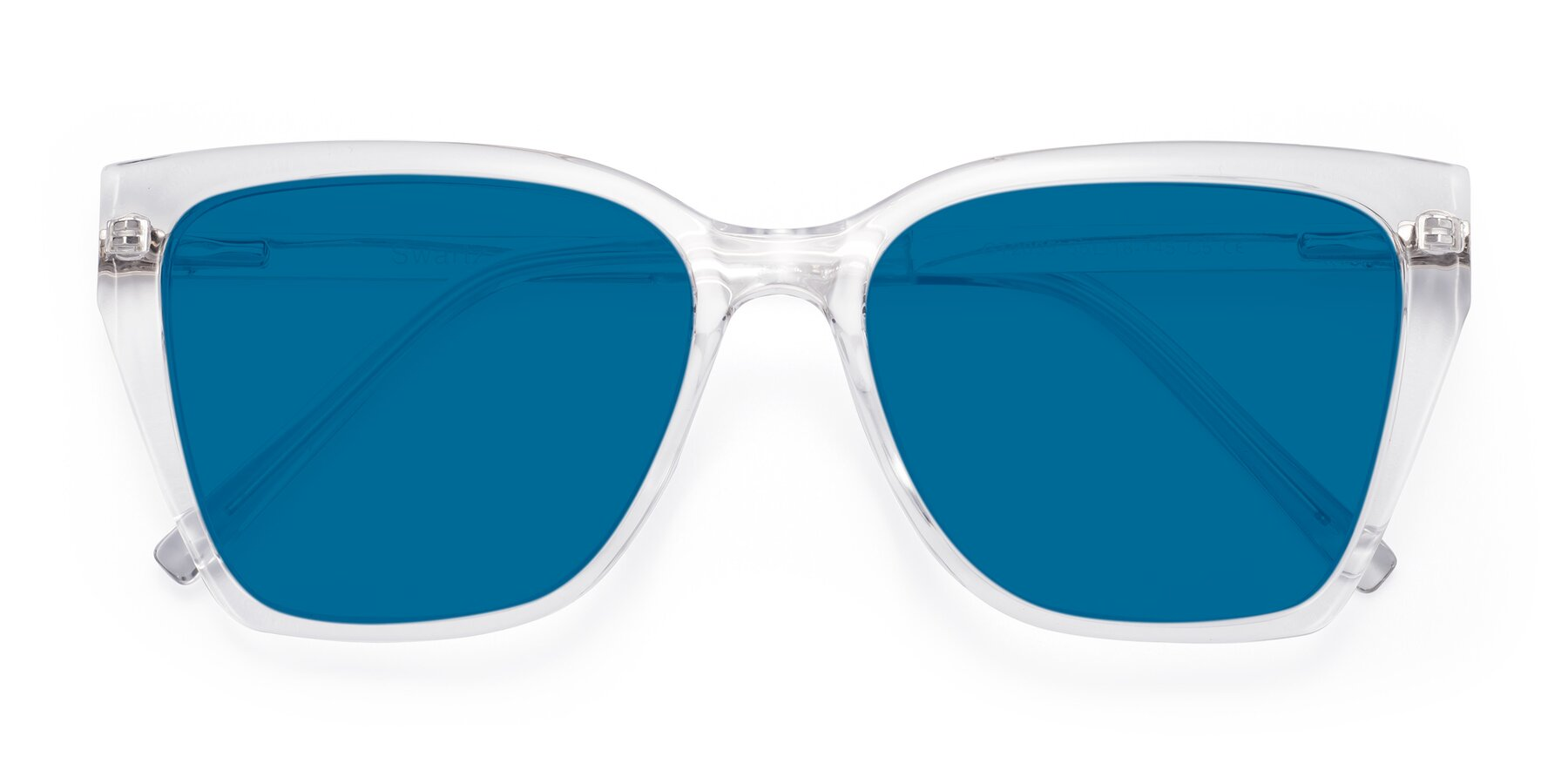 Folded Front of Swartz in Clear with Blue Tinted Lenses