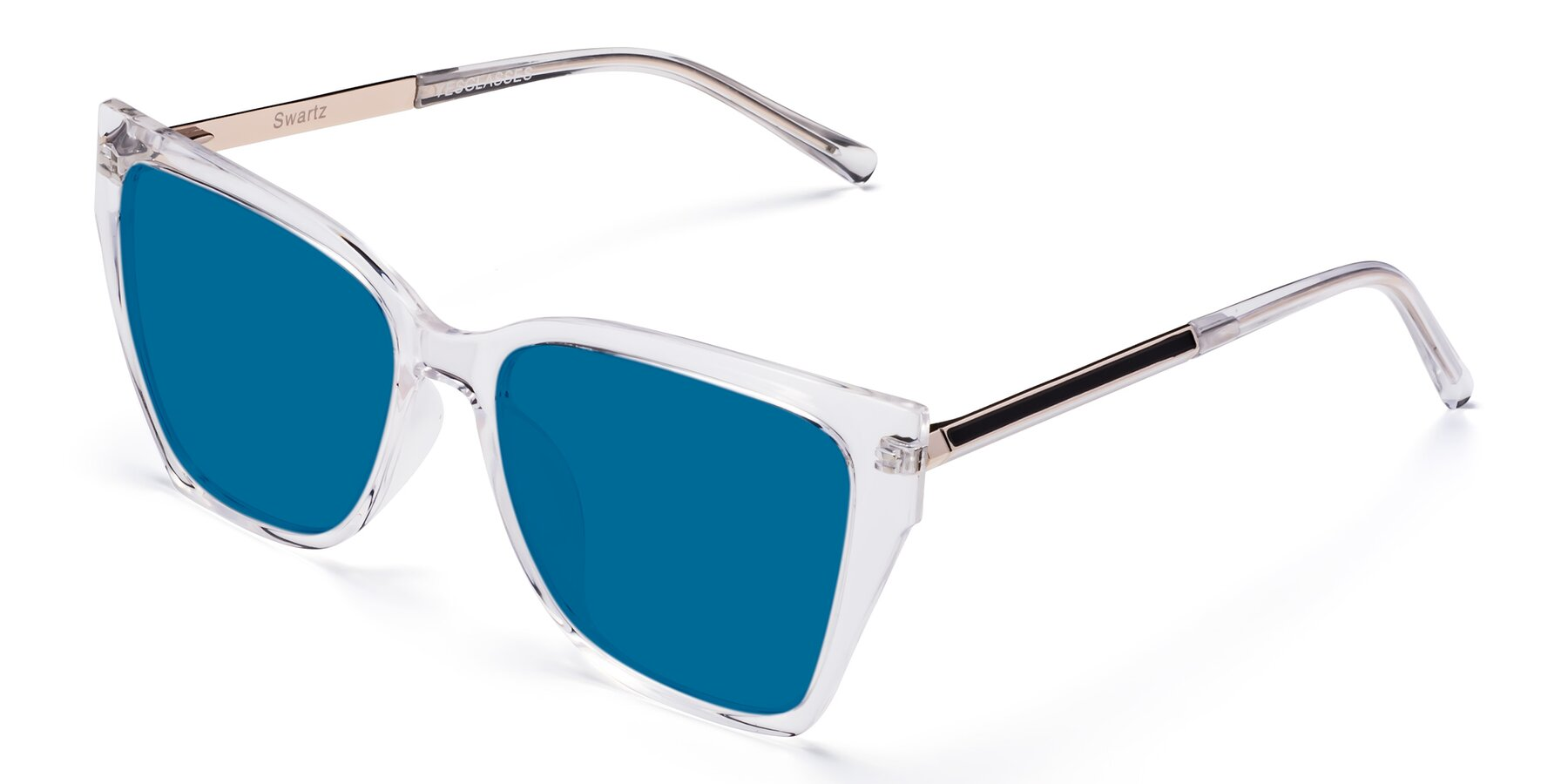 Angle of Swartz in Clear with Blue Tinted Lenses