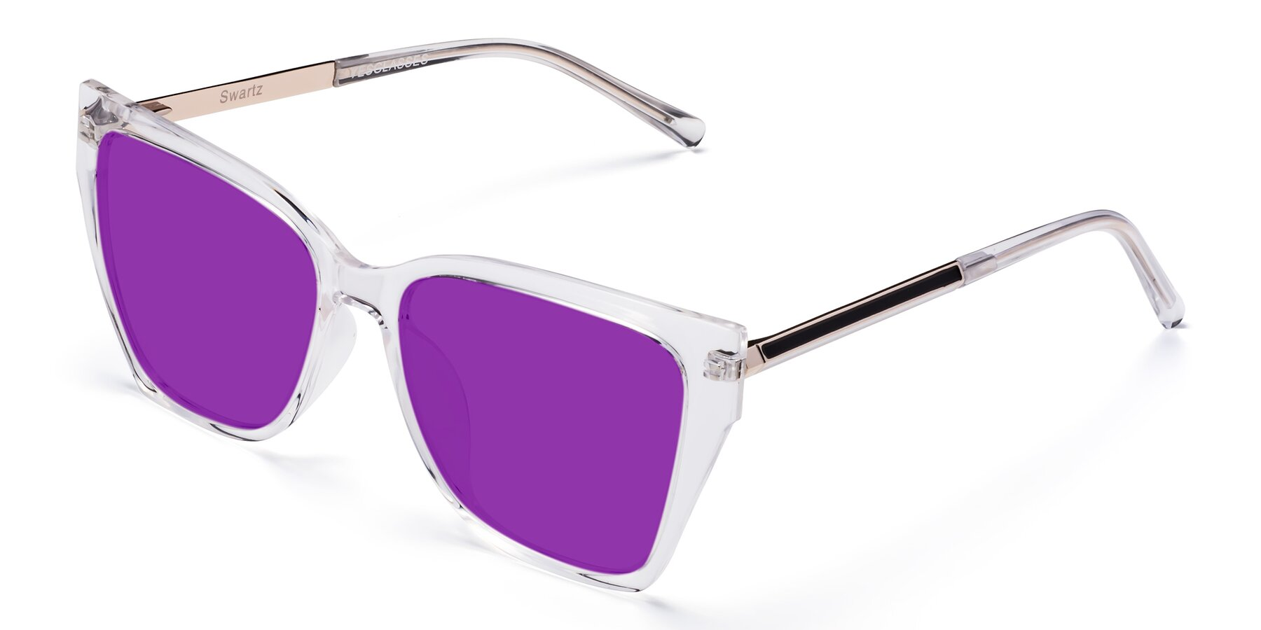 Angle of Swartz in Clear with Purple Tinted Lenses