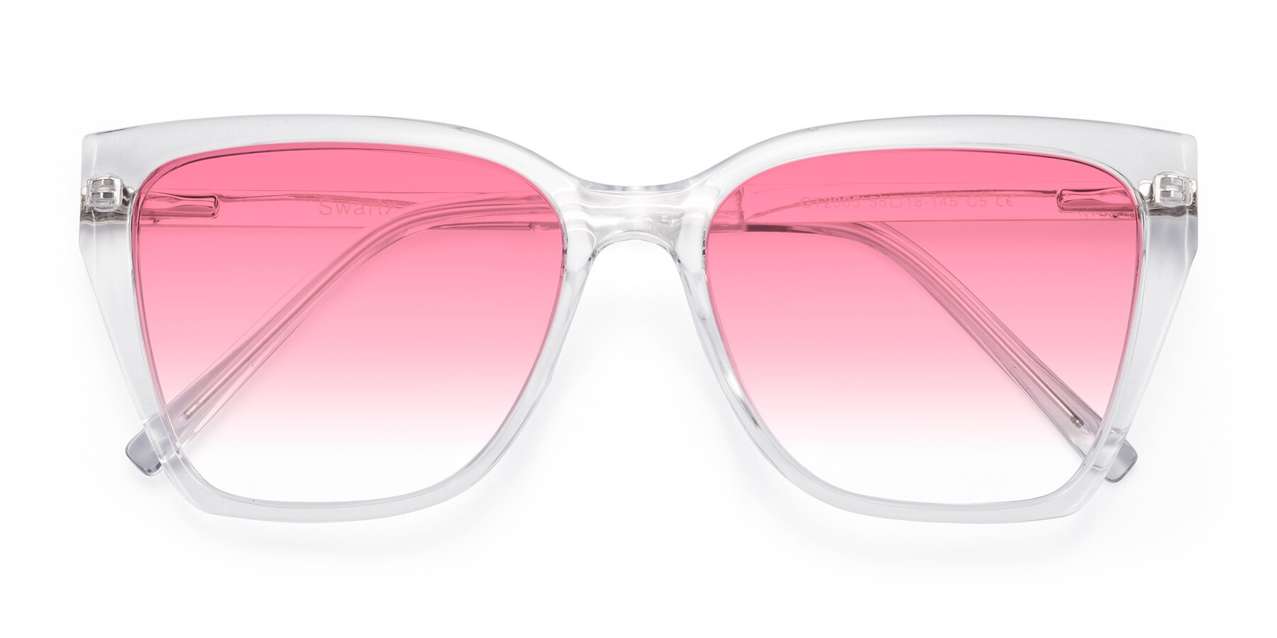 Folded Front of Swartz in Clear with Pink Gradient Lenses