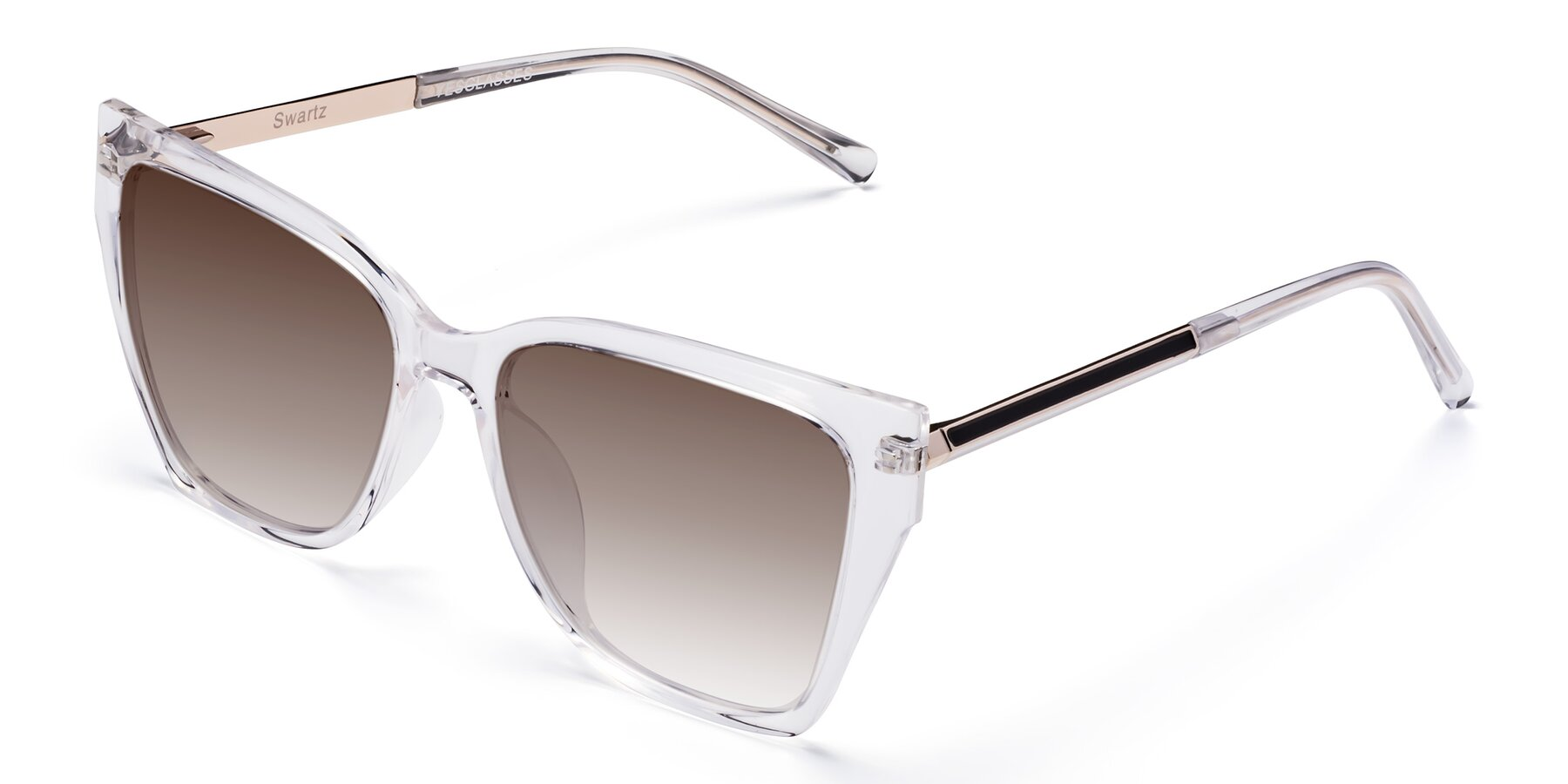 Angle of Swartz in Clear with Brown Gradient Lenses