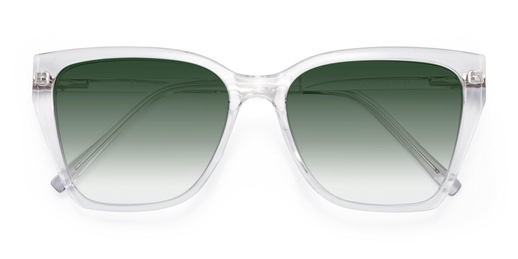 Folded Front of Swartz in Clear with Green Gradient Lenses
