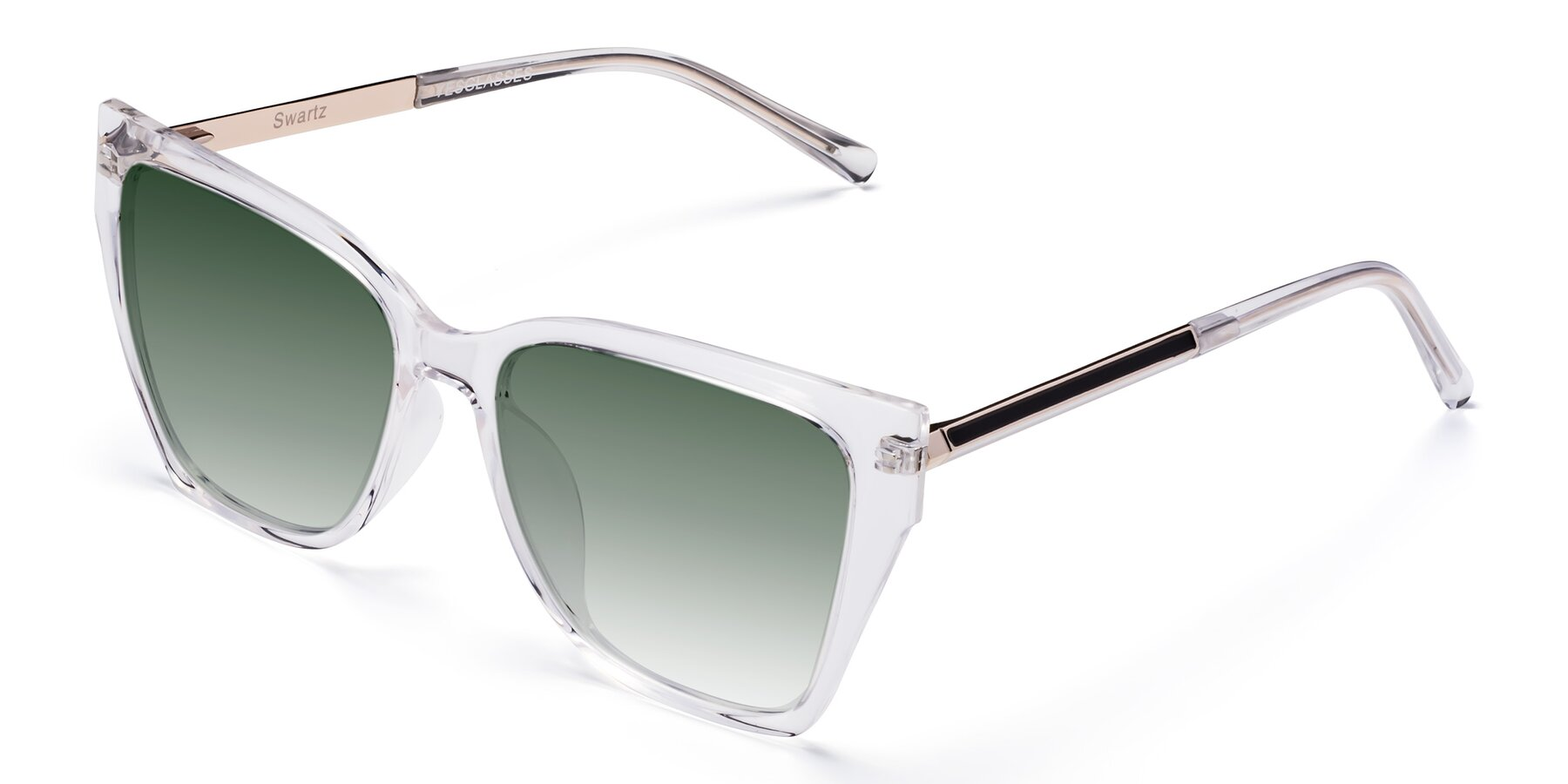 Angle of Swartz in Clear with Green Gradient Lenses
