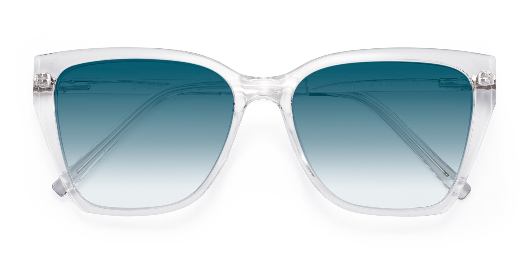 Folded Front of Swartz in Clear with Blue Gradient Lenses