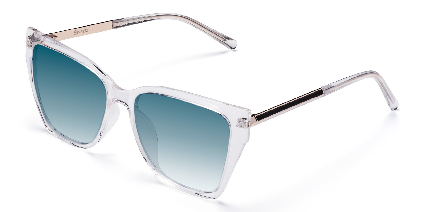 Angle of Swartz in Clear with Blue Gradient Lenses