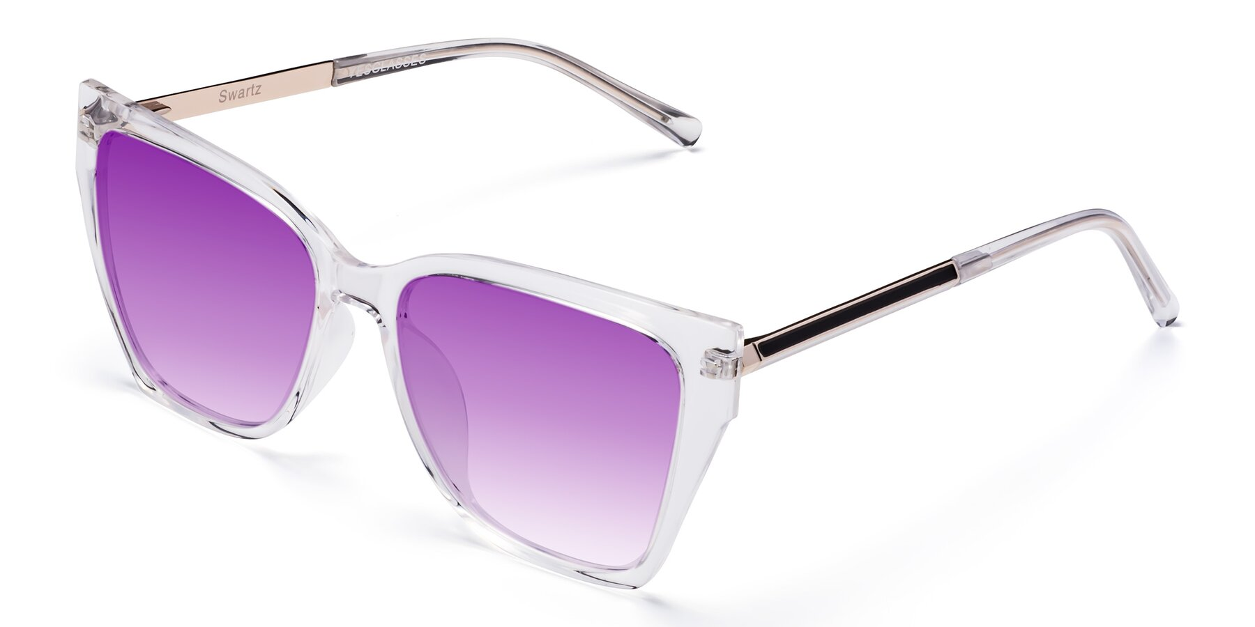 Angle of Swartz in Clear with Purple Gradient Lenses