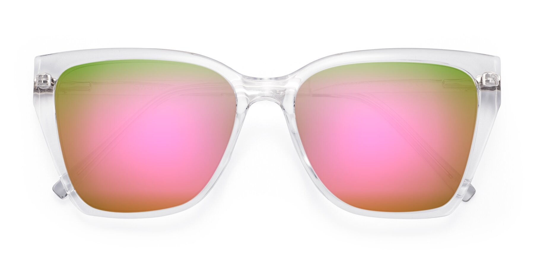 Folded Front of Swartz in Clear with Pink Mirrored Lenses