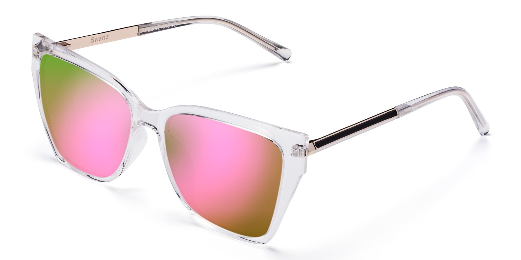 Angle of Swartz in Clear with Pink Mirrored Lenses