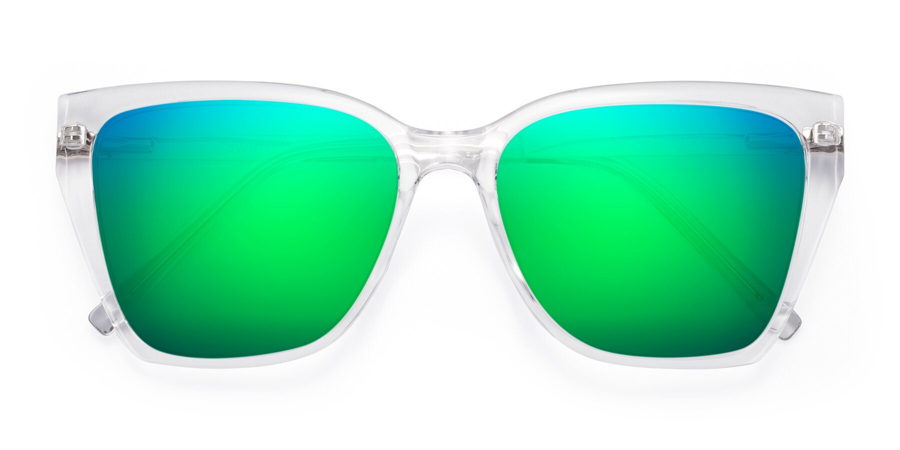 Folded Front of Swartz in Clear with Green Mirrored Lenses