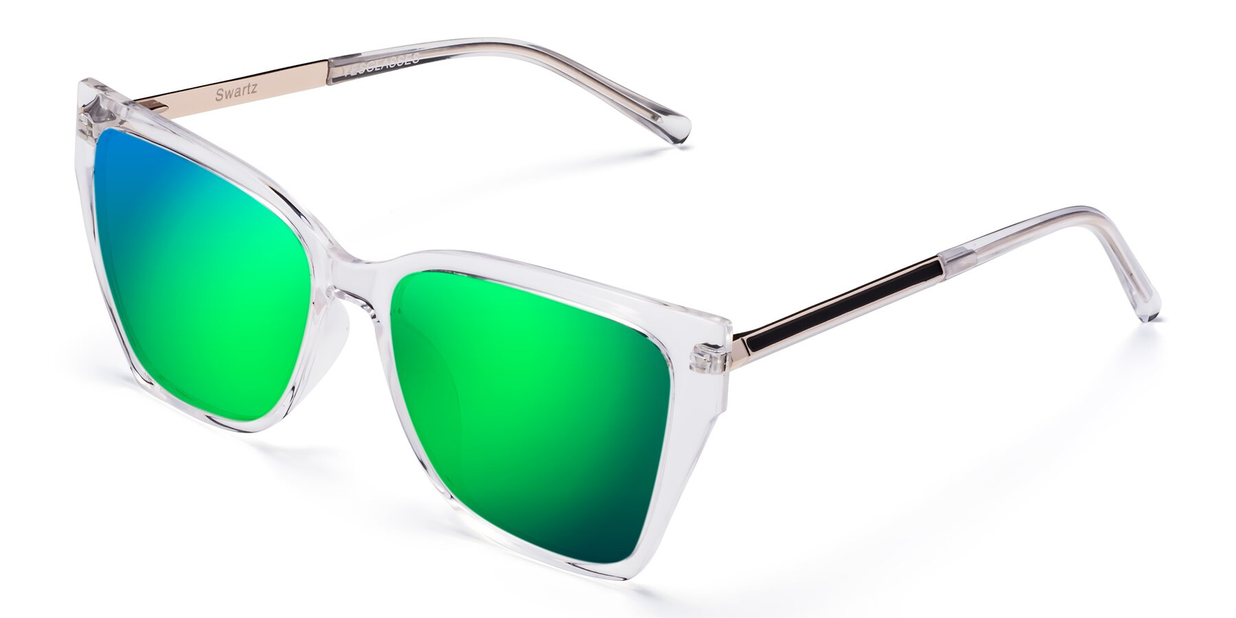 Angle of Swartz in Clear with Green Mirrored Lenses