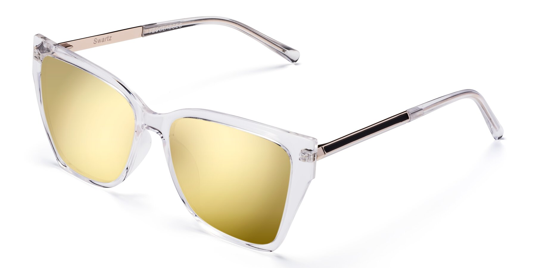 Angle of Swartz in Clear with Gold Mirrored Lenses