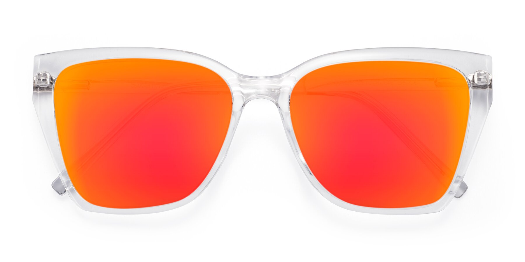 Folded Front of Swartz in Clear with Red Gold Mirrored Lenses