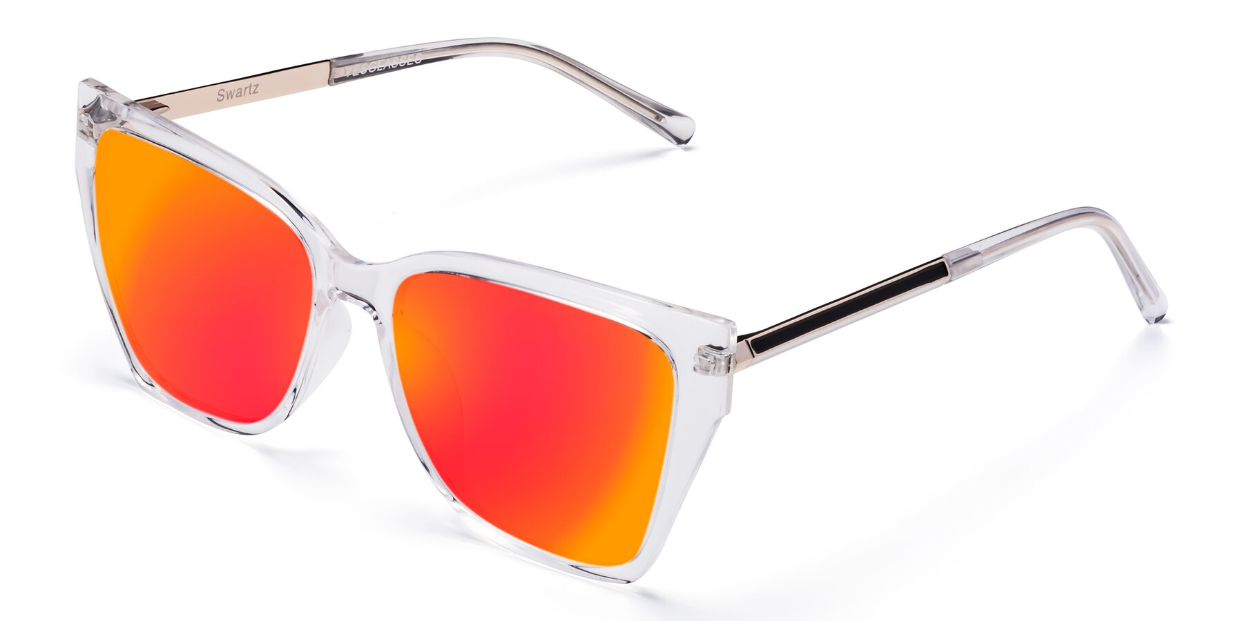 Angle of Swartz in Clear with Red Gold Mirrored Lenses