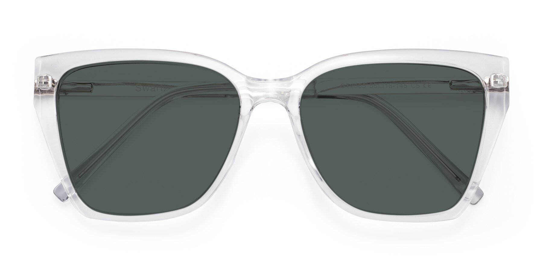 Folded Front of Swartz in Clear with Gray Polarized Lenses