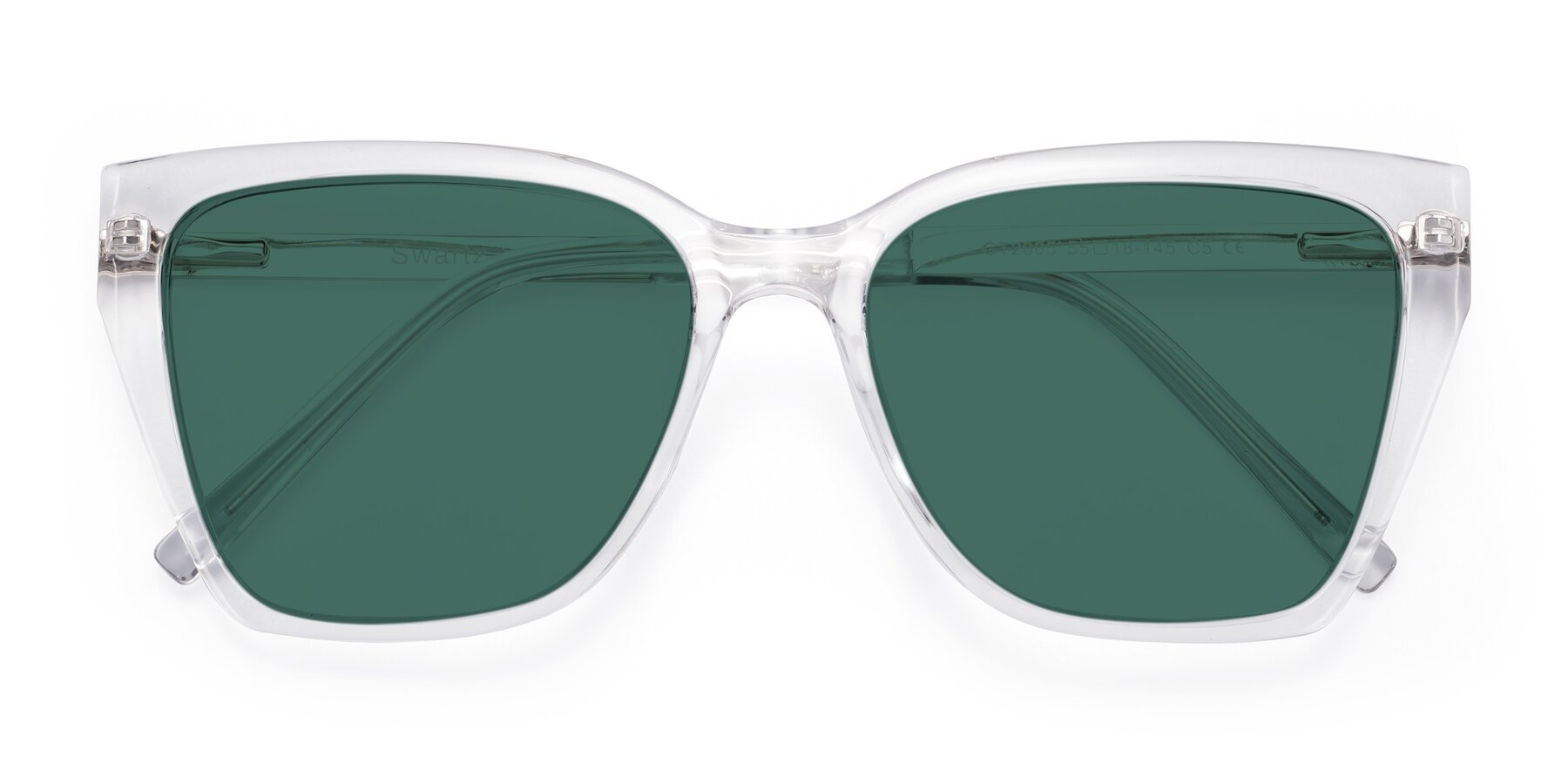 Folded Front of Swartz in Clear with Green Polarized Lenses