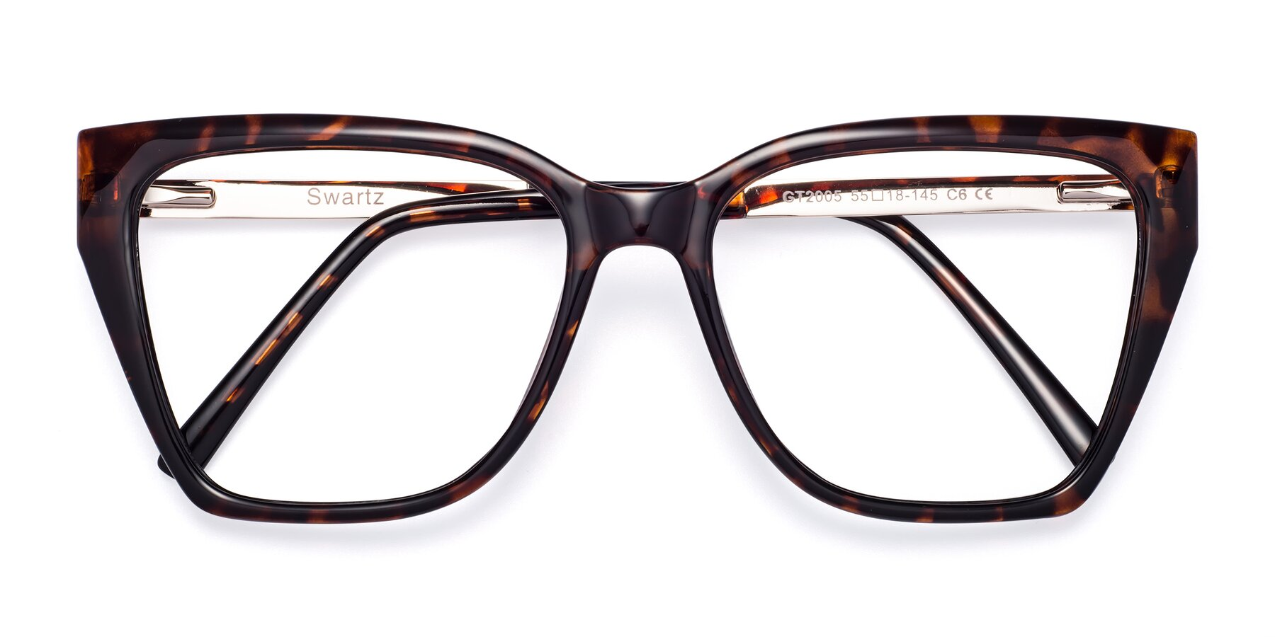 Folded Front of Swartz in Tortoise with Clear Blue Light Blocking Lenses