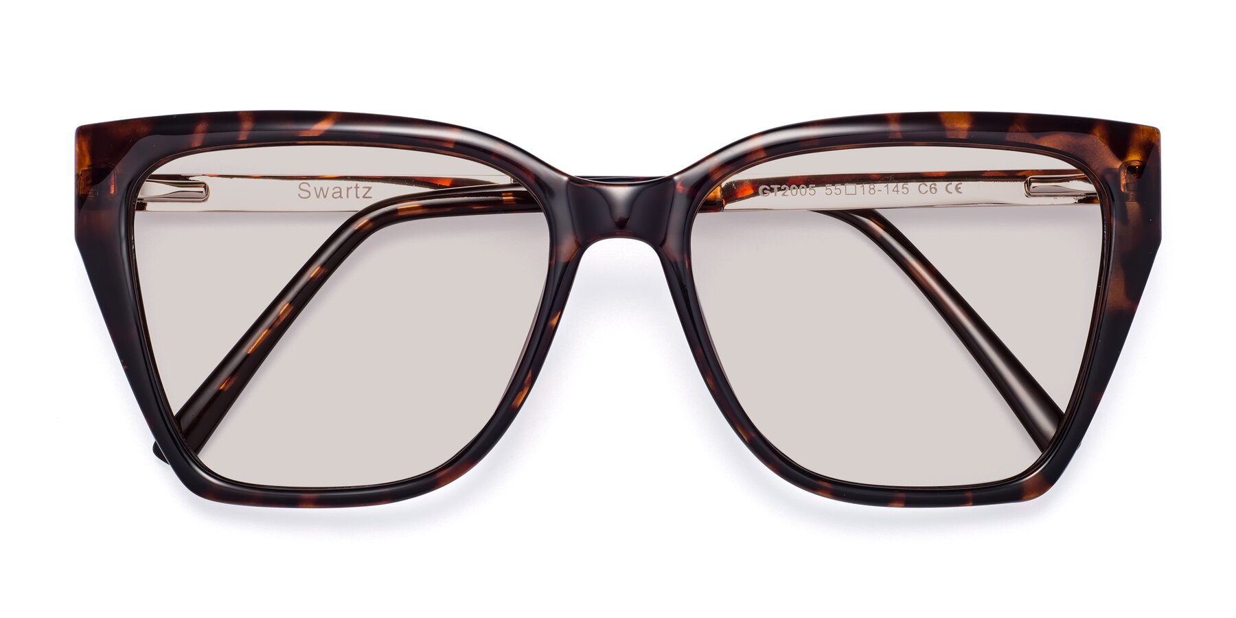 Folded Front of Swartz in Tortoise with Light Brown Tinted Lenses