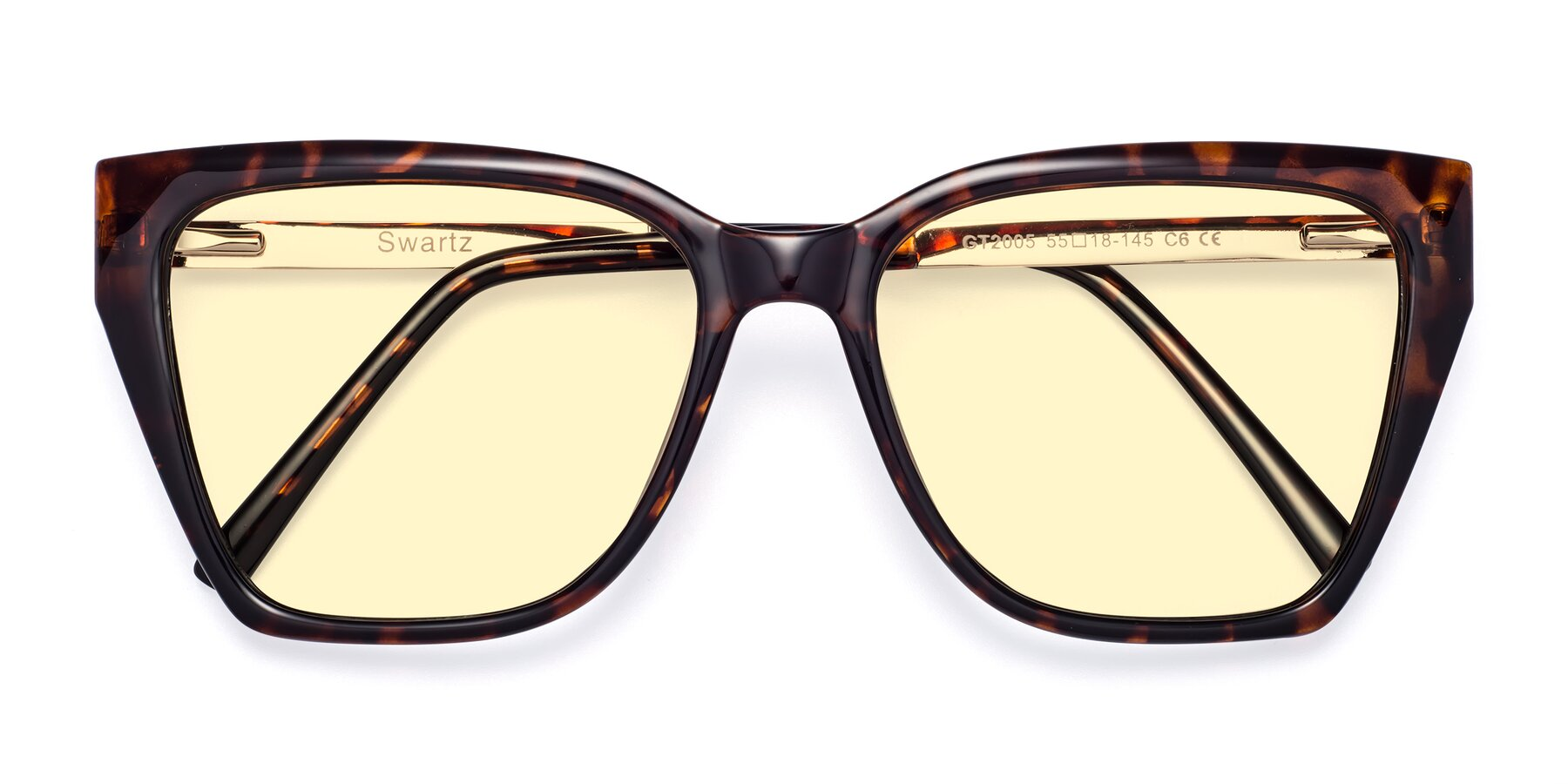 Folded Front of Swartz in Tortoise with Light Yellow Tinted Lenses