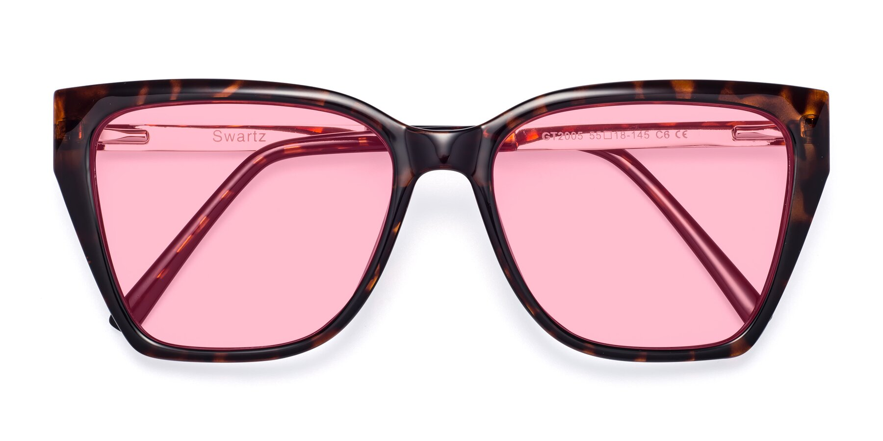 Folded Front of Swartz in Tortoise with Medium Pink Tinted Lenses