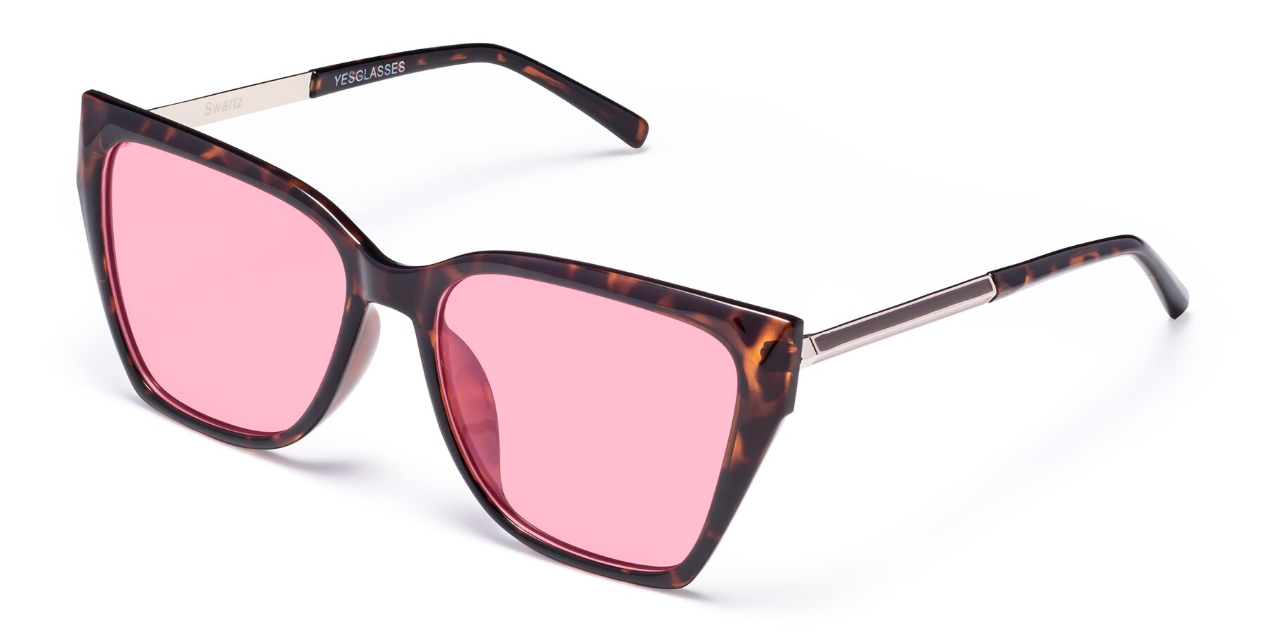 Angle of Swartz in Tortoise with Medium Pink Tinted Lenses