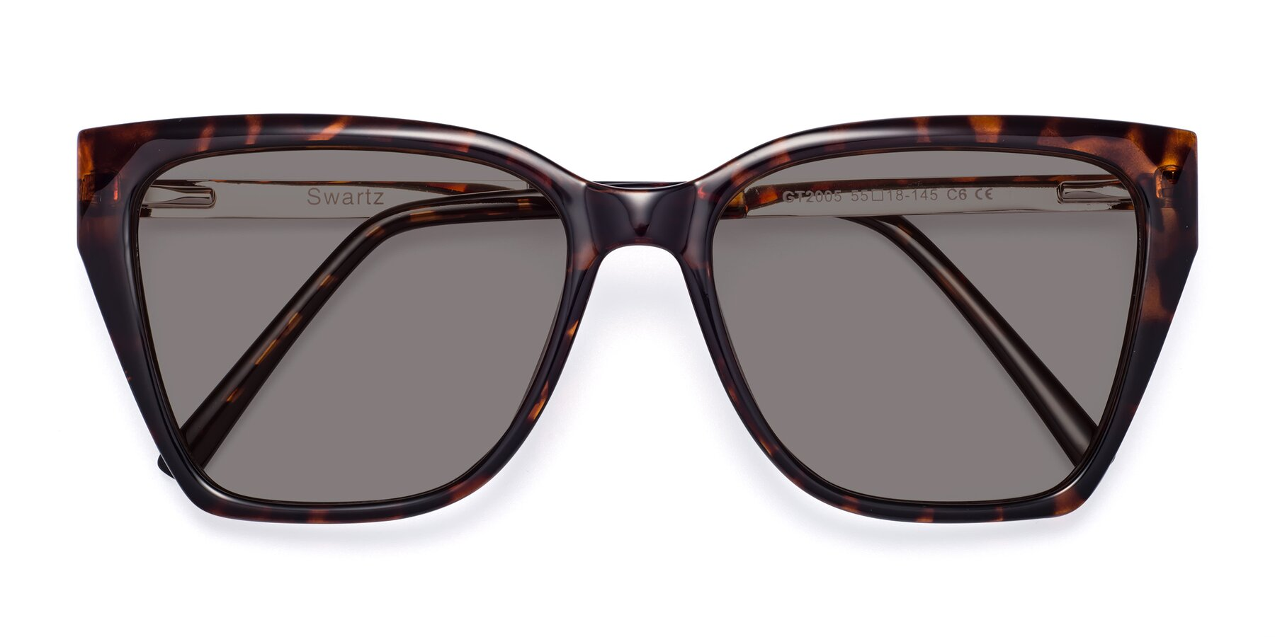 Folded Front of Swartz in Tortoise with Medium Gray Tinted Lenses