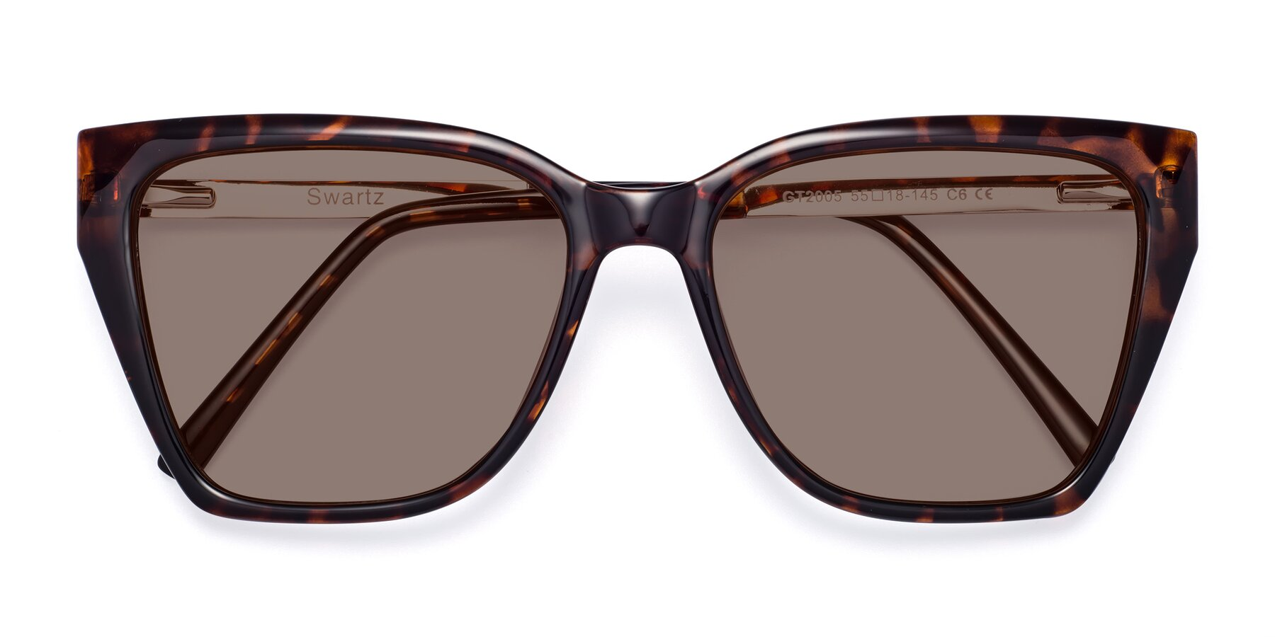 Folded Front of Swartz in Tortoise with Medium Brown Tinted Lenses