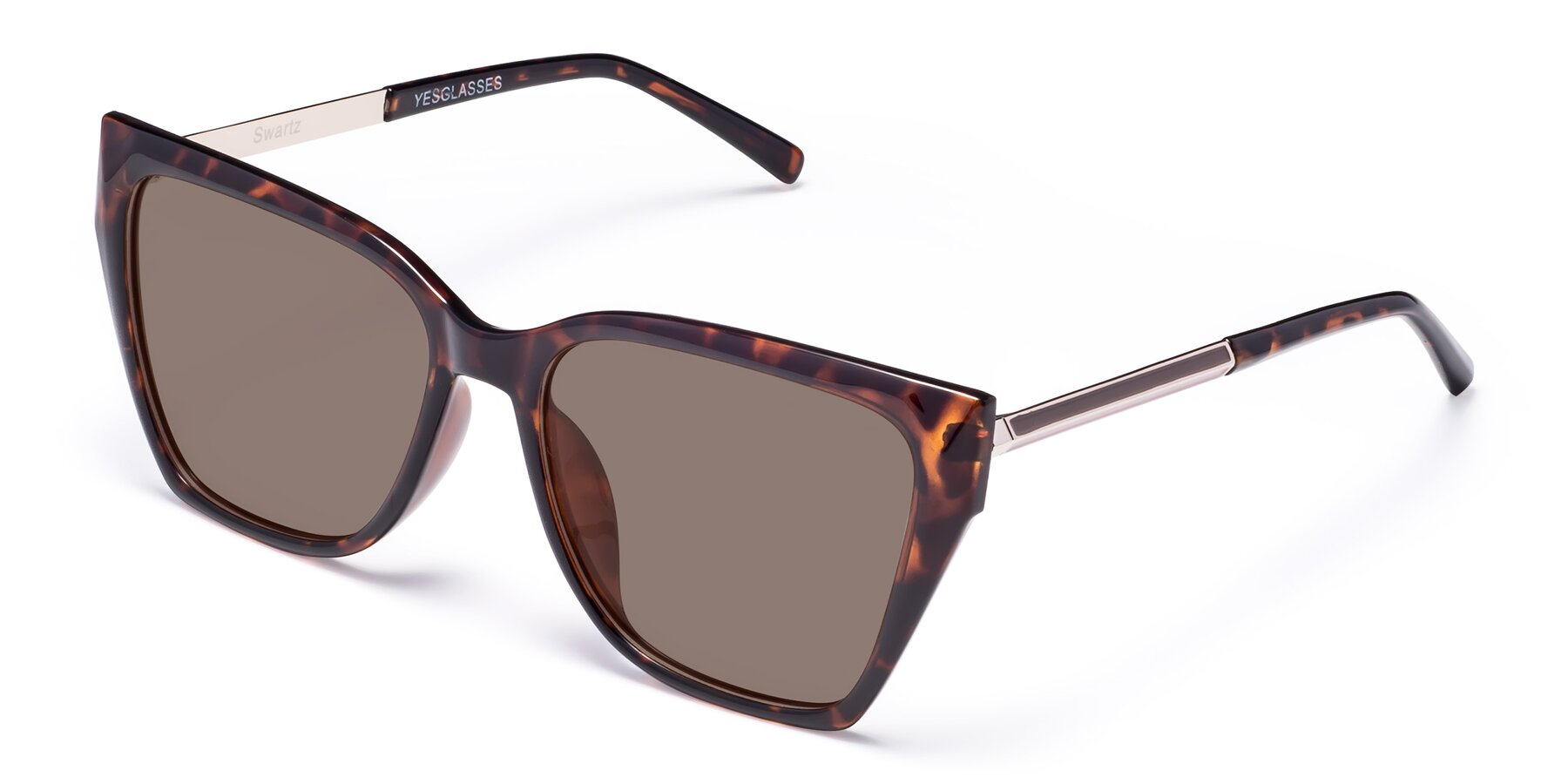 Angle of Swartz in Tortoise with Medium Brown Tinted Lenses