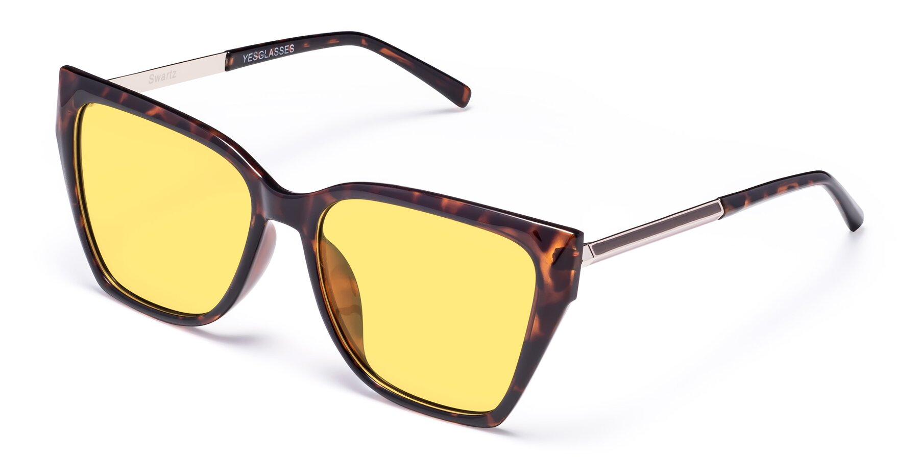 Angle of Swartz in Tortoise with Medium Yellow Tinted Lenses