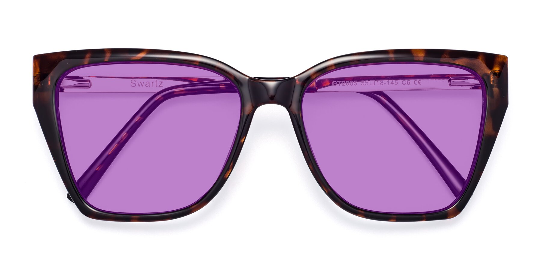 Folded Front of Swartz in Tortoise with Medium Purple Tinted Lenses