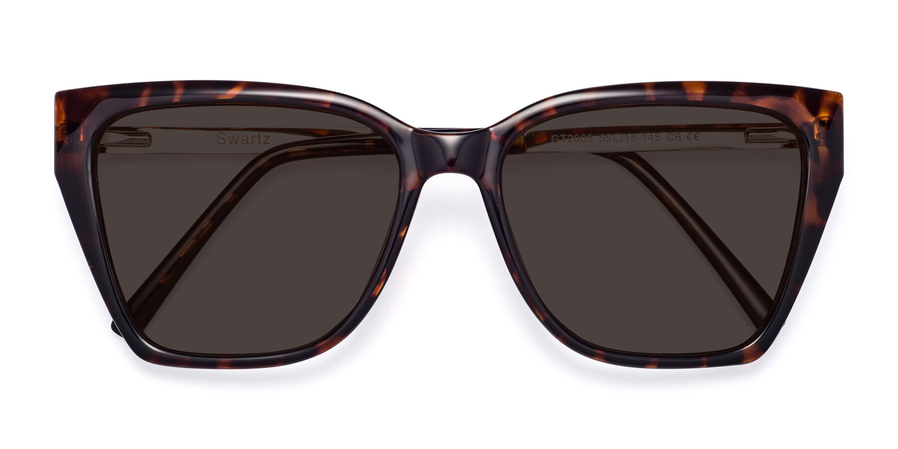 Folded Front of Swartz in Tortoise with Gray Tinted Lenses
