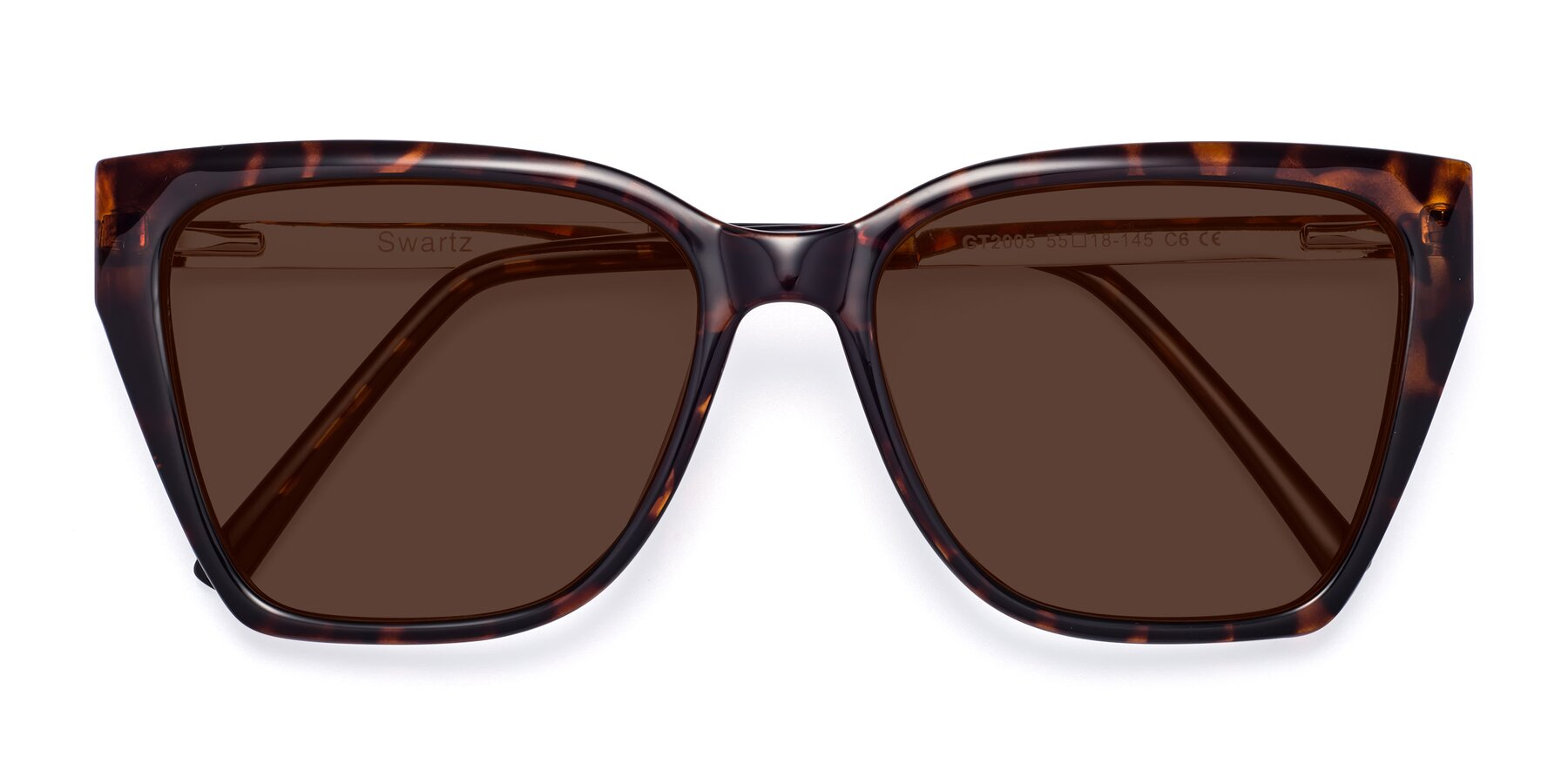 Folded Front of Swartz in Tortoise with Brown Tinted Lenses