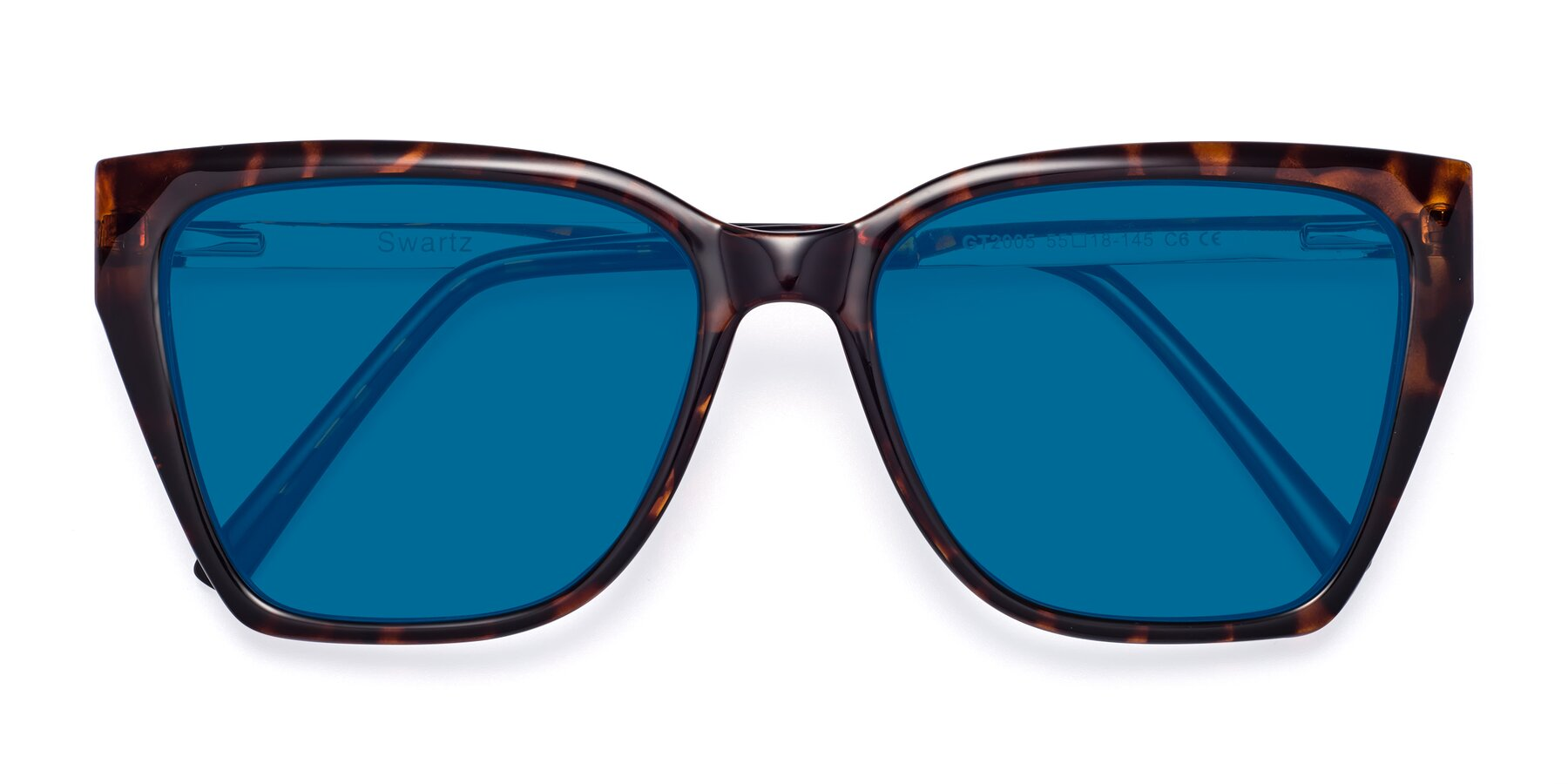 Folded Front of Swartz in Tortoise with Blue Tinted Lenses