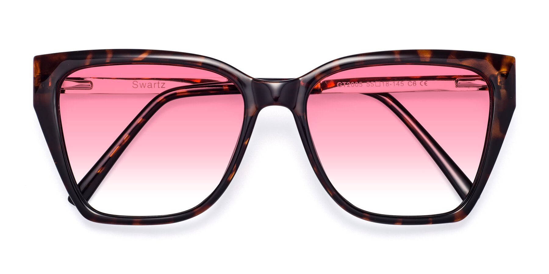 Folded Front of Swartz in Tortoise with Pink Gradient Lenses