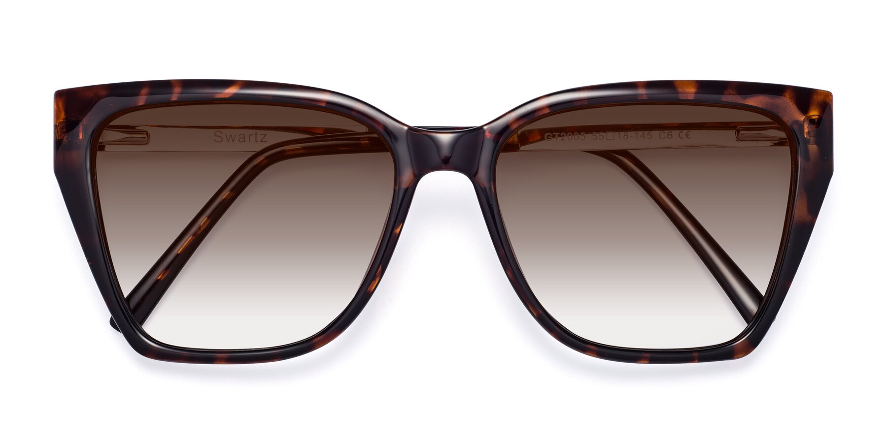 Folded Front of Swartz in Tortoise with Brown Gradient Lenses