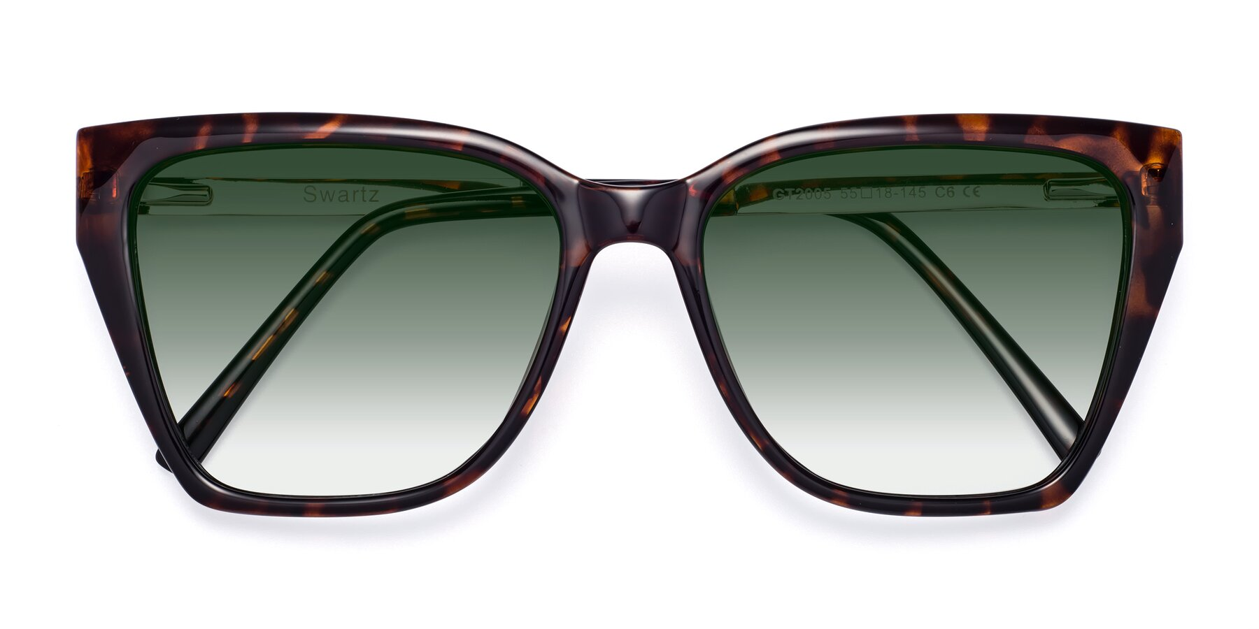 Folded Front of Swartz in Tortoise with Green Gradient Lenses