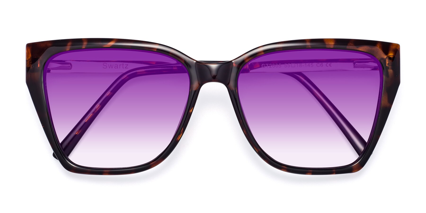 Folded Front of Swartz in Tortoise with Purple Gradient Lenses