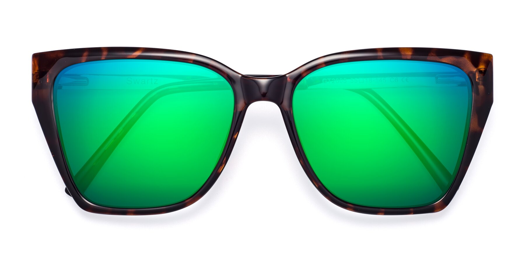 Folded Front of Swartz in Tortoise with Green Mirrored Lenses