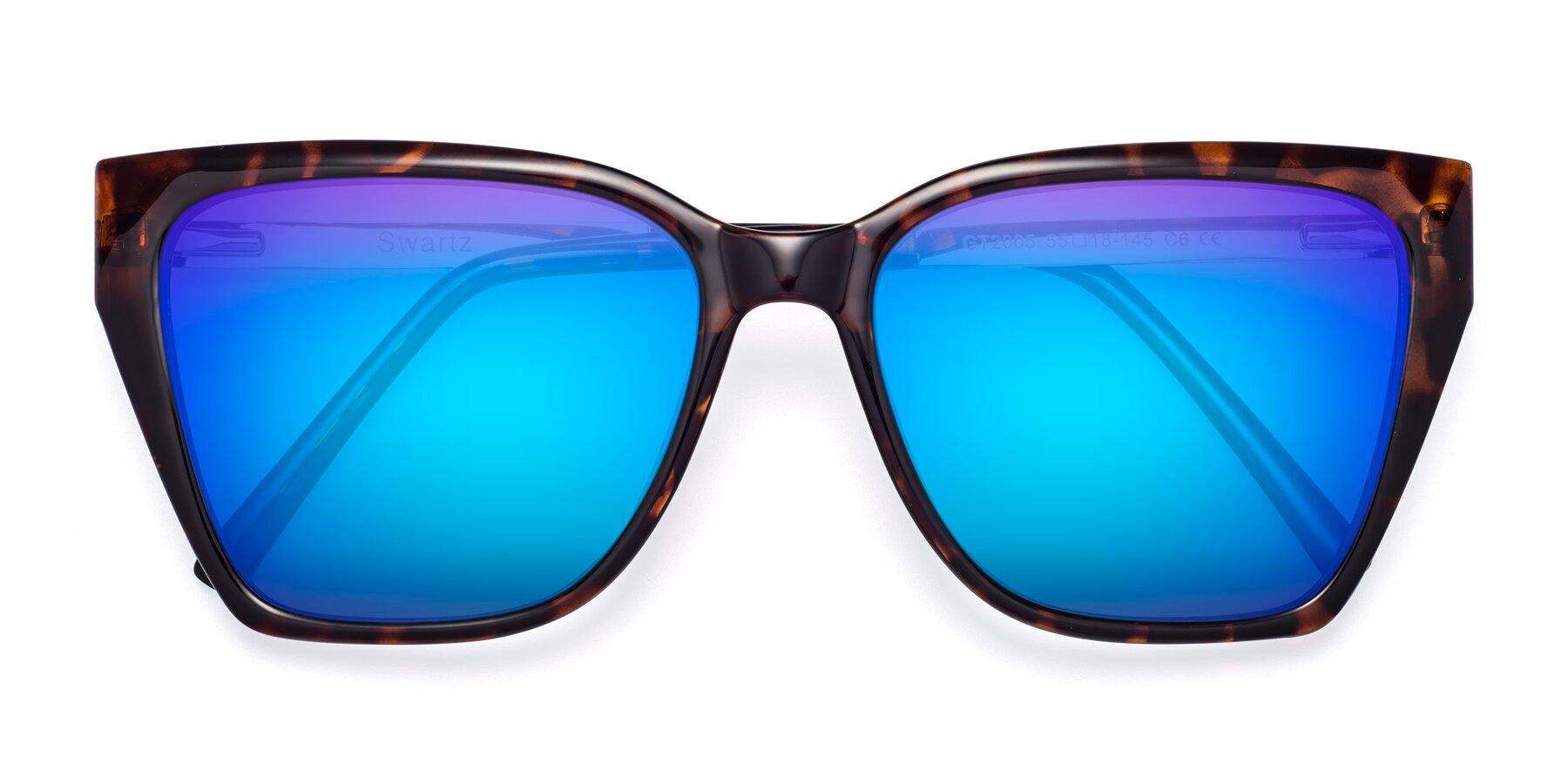 Folded Front of Swartz in Tortoise with Blue Mirrored Lenses