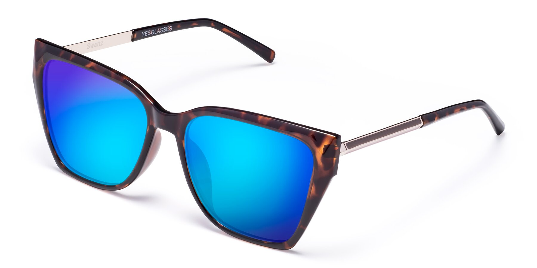 Angle of Swartz in Tortoise with Blue Mirrored Lenses