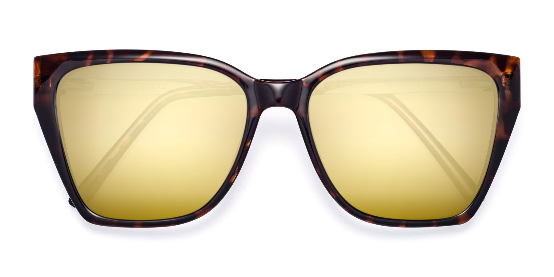 Folded Front of Swartz in Tortoise with Gold Mirrored Lenses