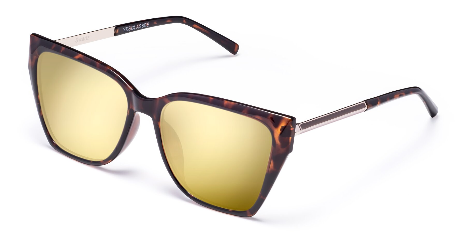 Angle of Swartz in Tortoise with Gold Mirrored Lenses