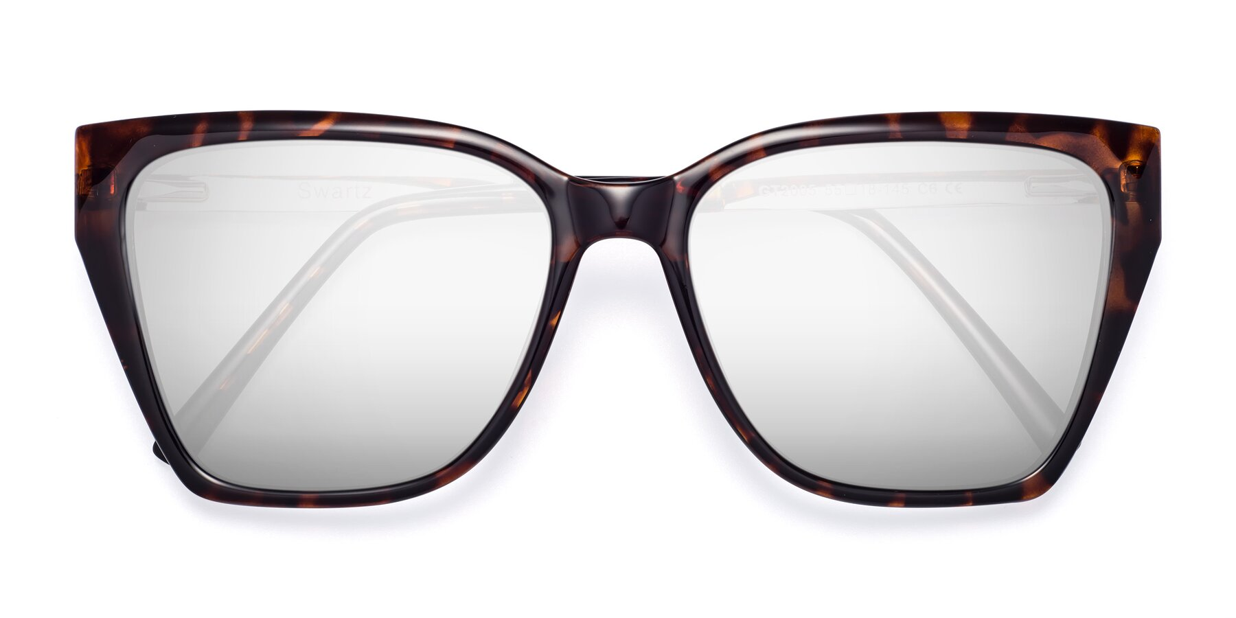 Folded Front of Swartz in Tortoise with Silver Mirrored Lenses