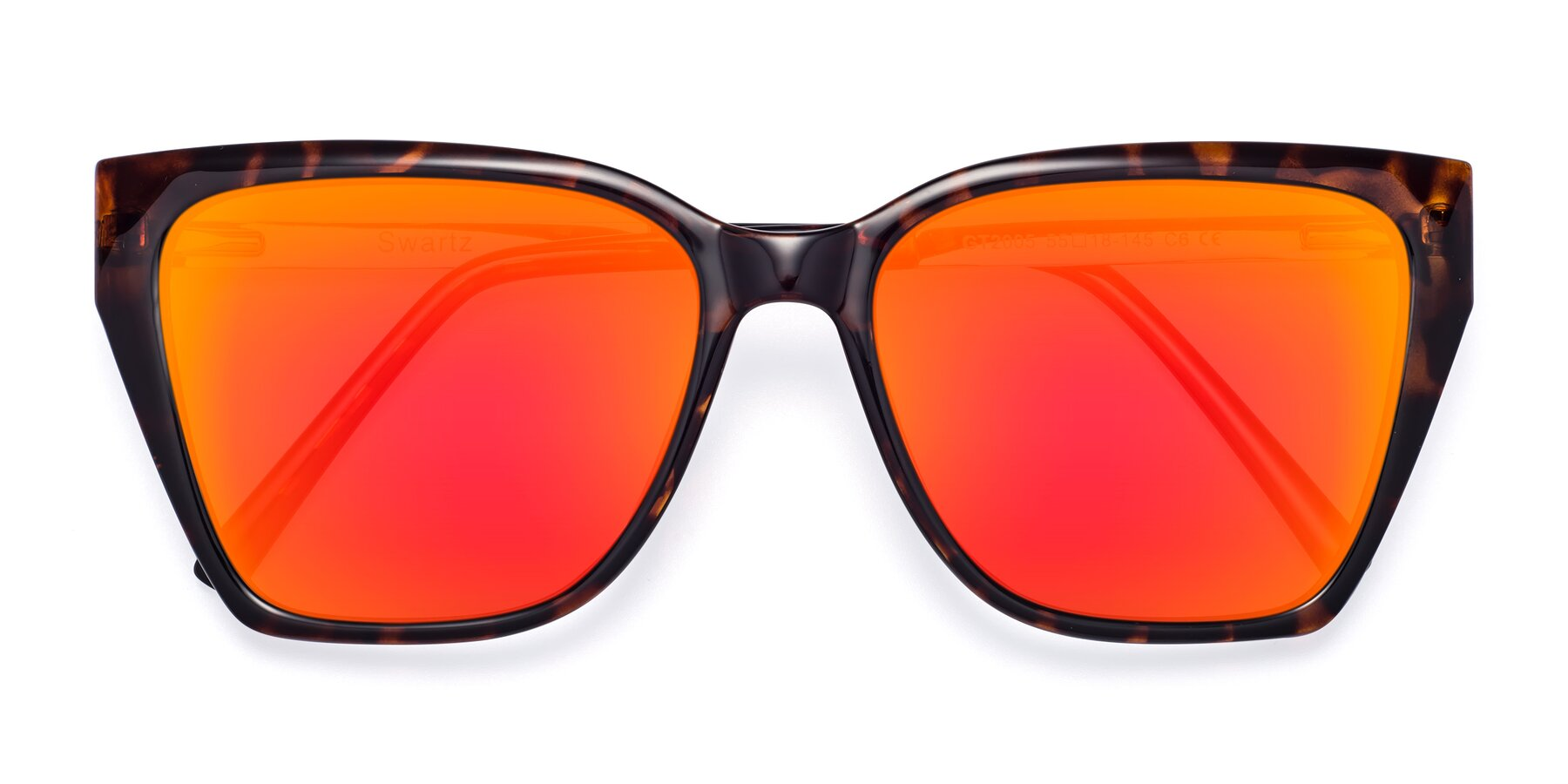 Folded Front of Swartz in Tortoise with Red Gold Mirrored Lenses