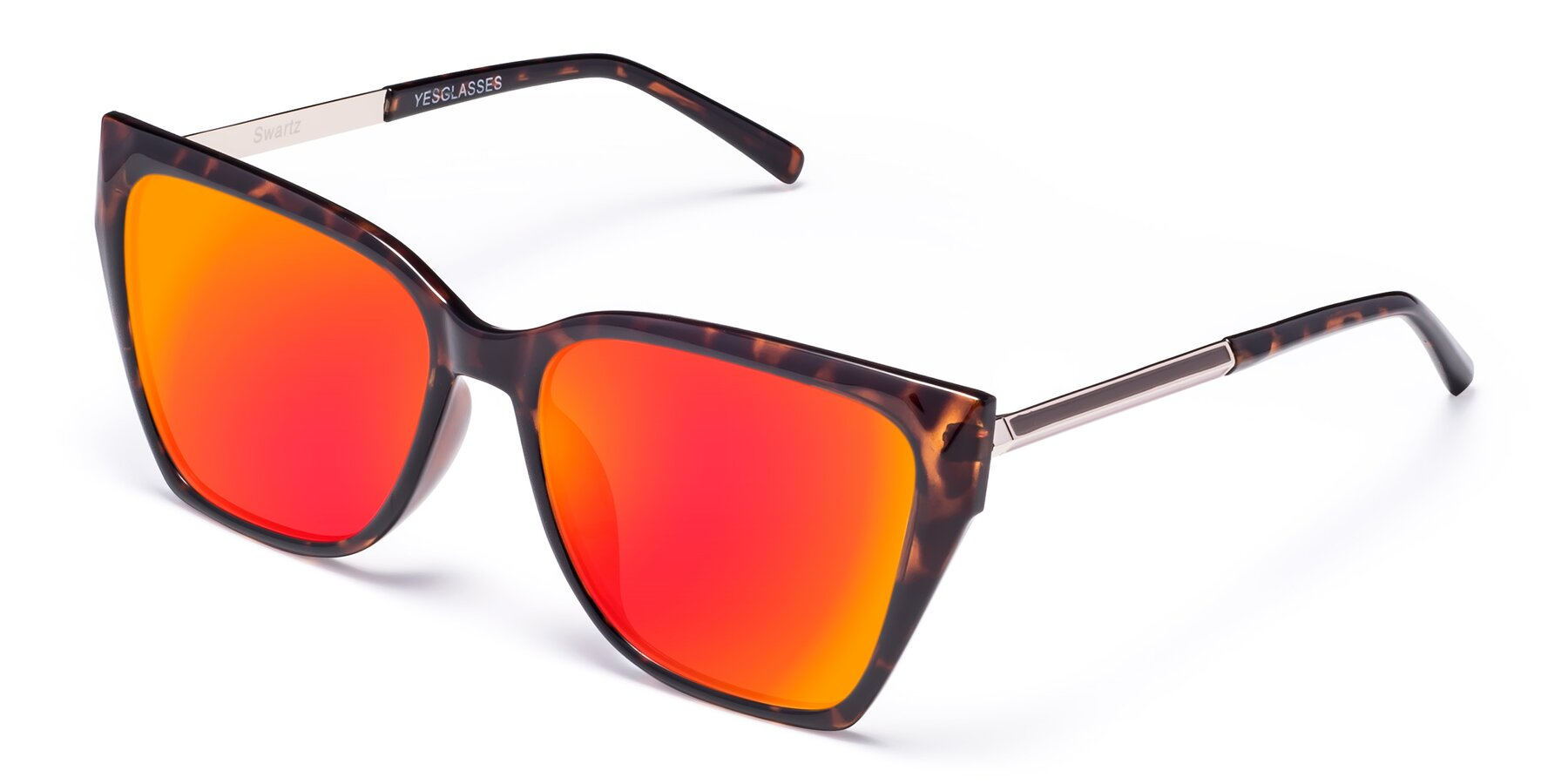 Angle of Swartz in Tortoise with Red Gold Mirrored Lenses