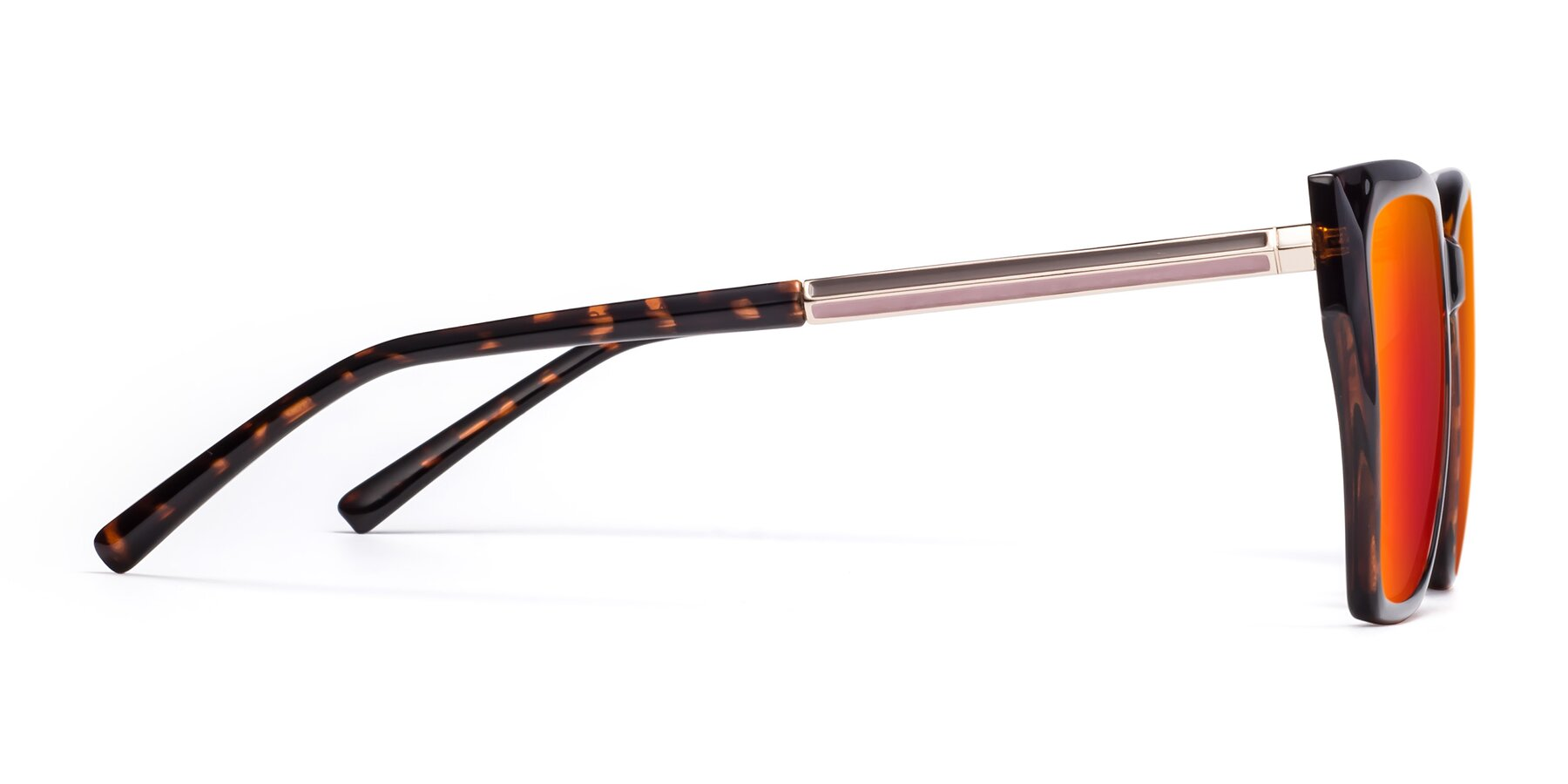 Side of Swartz in Tortoise with Red Gold Mirrored Lenses