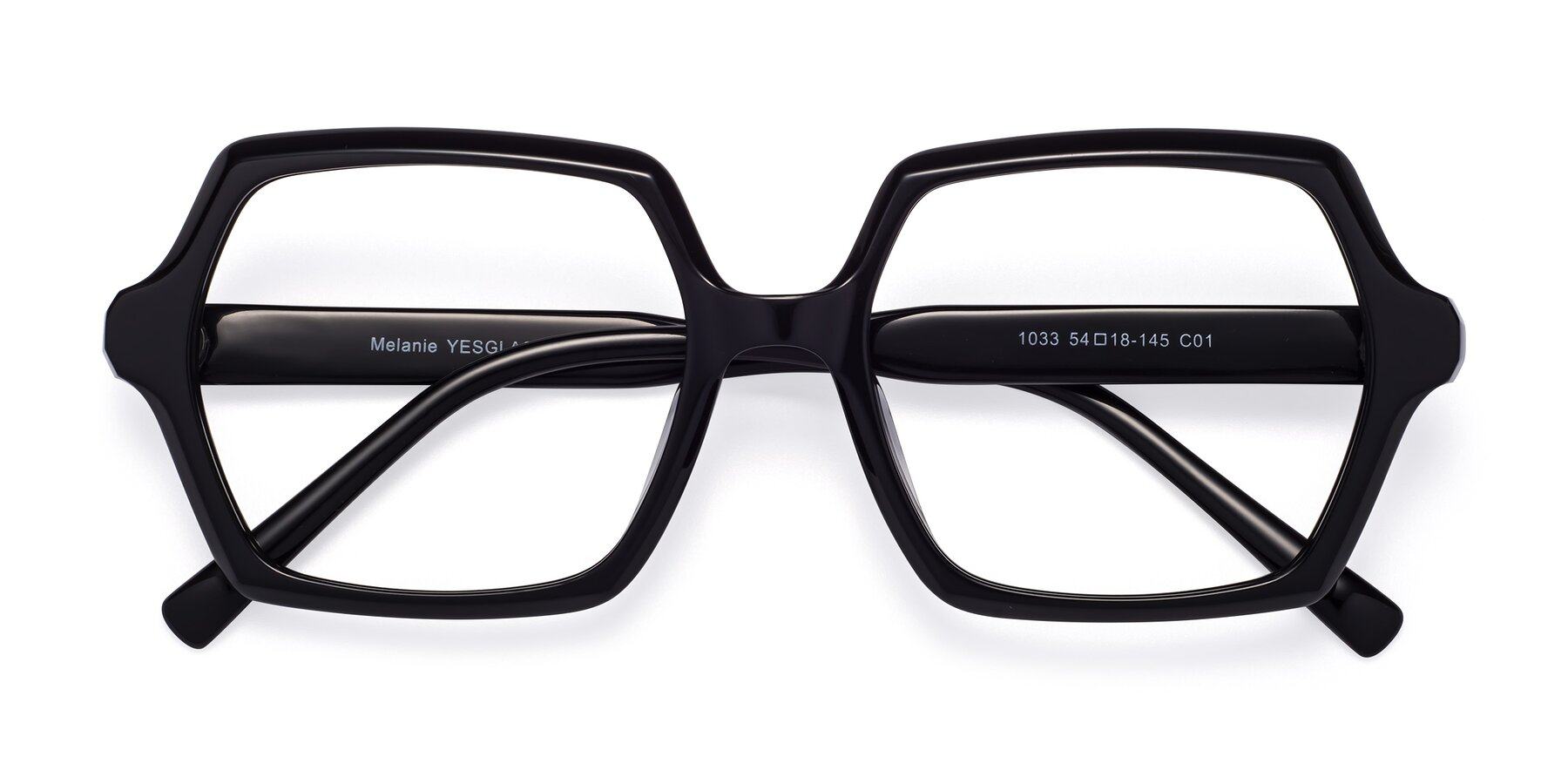 Folded Front of Melanie in Black with Clear Eyeglass Lenses
