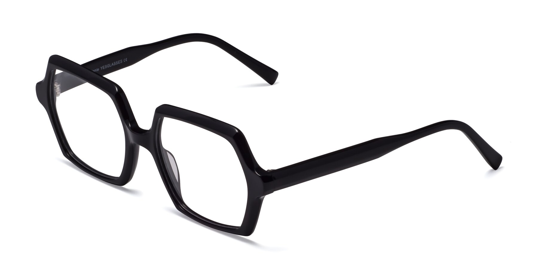 Angle of Melanie in Black with Clear Eyeglass Lenses